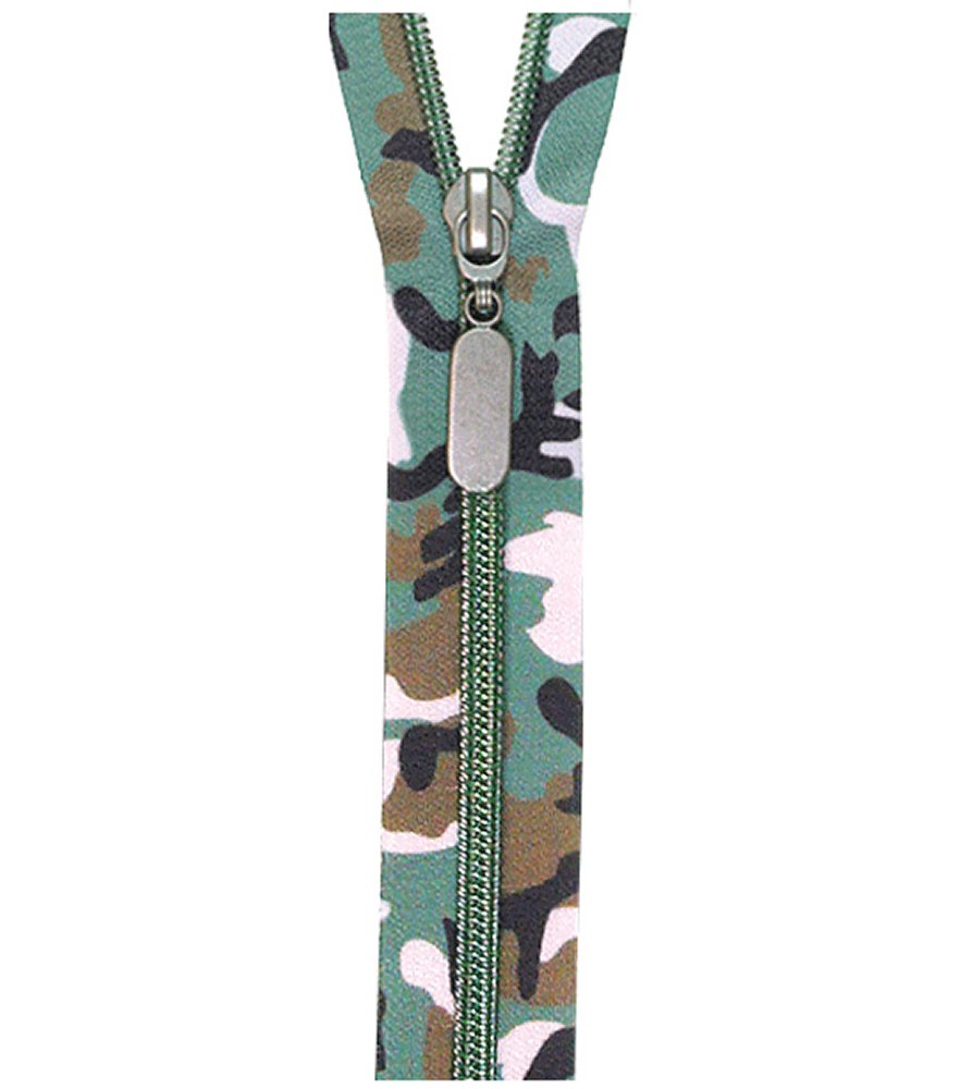 Forest Camo Nylon Coil Zipper 18