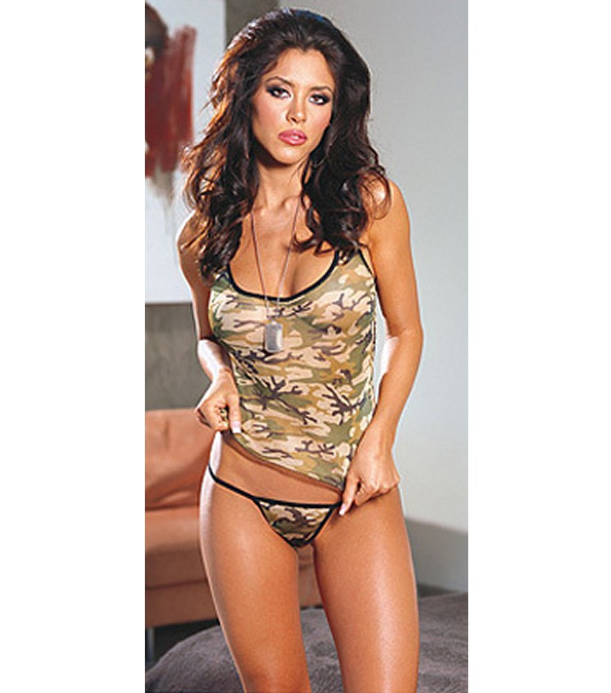 Green Camo Camisole with Thong