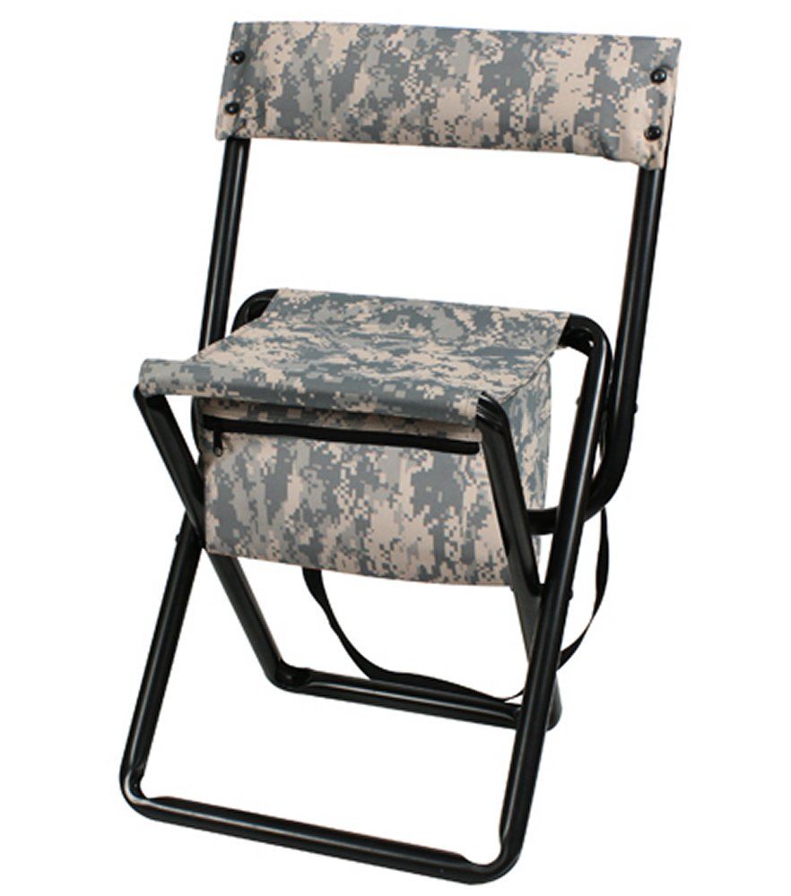 Deluxe ACU Digital Camo Folding Chair With Pouch