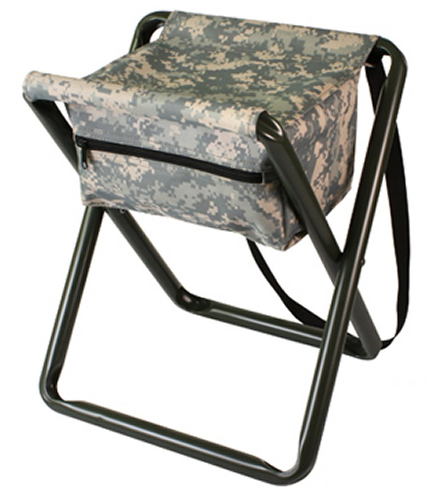 Deluxe ACU Digital Camo Folding Camp Stool With Pouch
