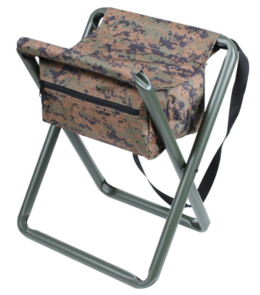 Deluxe Woodland Digital Camo Folding Camp Stool With Pouch