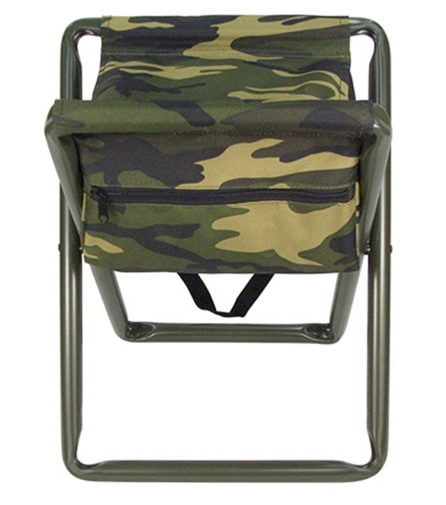 Deluxe Woodland Camo Folding Camp Stool With Pouch