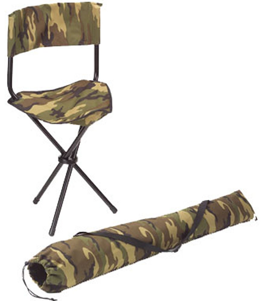 Woodland Camo Collapsible Stool With Back