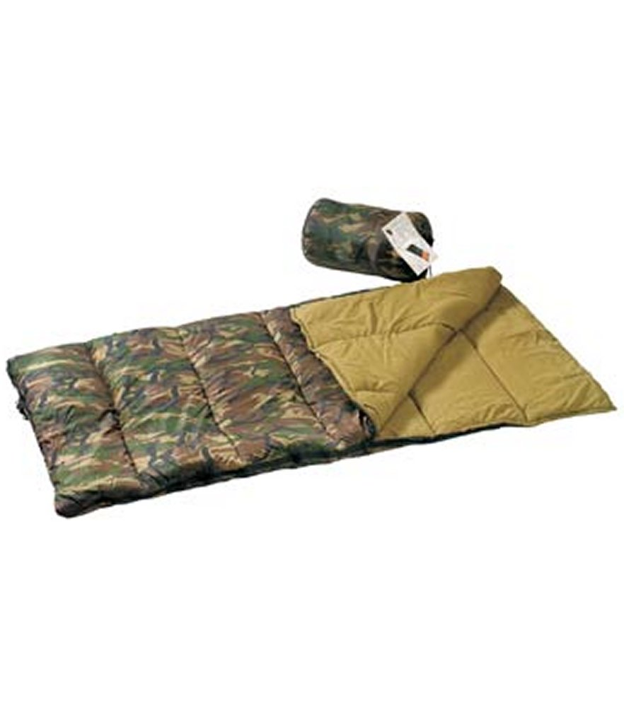 Woodland Camo Nylon Adult Sleeping Bag